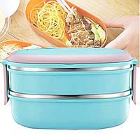 Ланч-бокс (контейнер для еды) детский пластиковый для хранения продуктов lunch box 2 layers