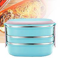 Ланч-бокс (контейнер для еды) детский пластиковый для хранения продуктов lunch box 3 layers