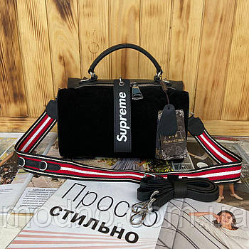 Жіноча замшева сумка через плече з брелоком Supreme Polina & Eiterou