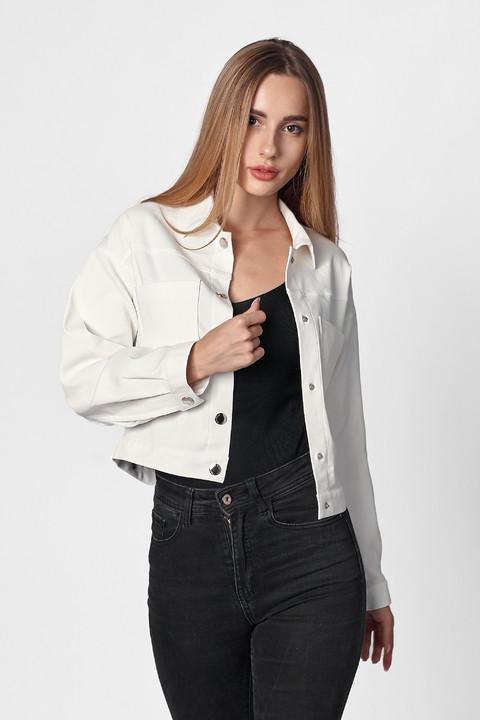 Белая коттоновая куртка. Модель 471. Размеры 42-48