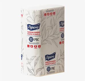 Полотенце бумажное белое 2 слоя сложение Z 22х22,5 см. 200 шт/уп узкое PAPERO