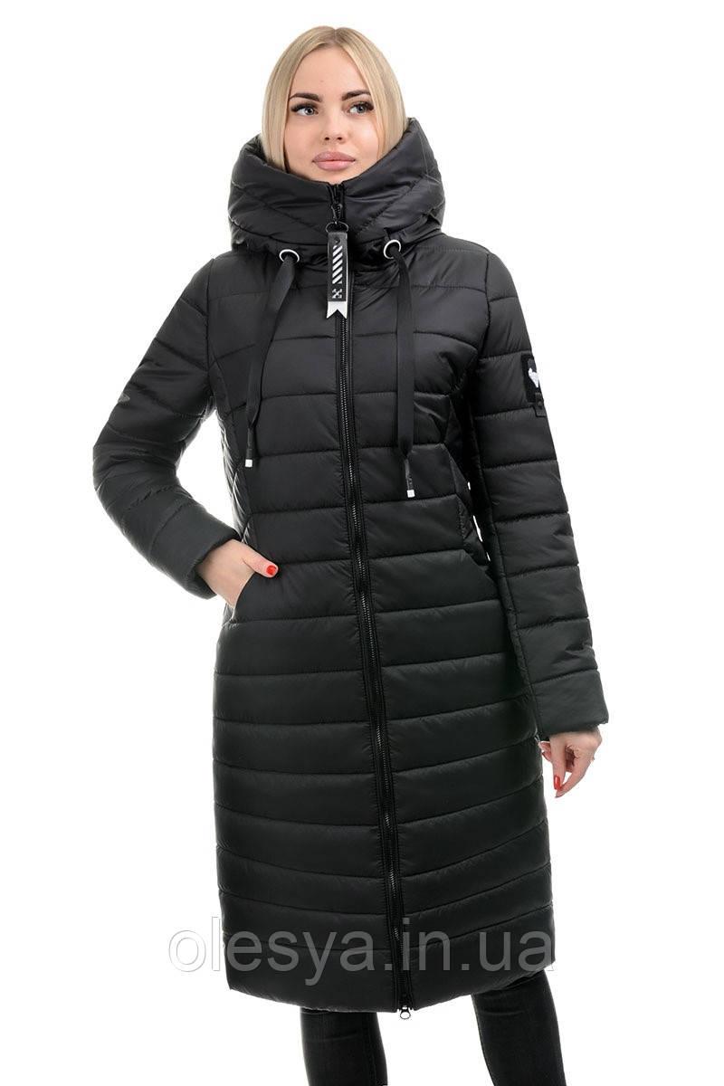 Стильный зимний пуховик с капюшоном. Цвет черный Размер 50