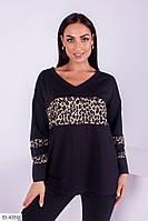 Модный женский свитшот с леопардовыми вставками размеры батал 50-56 арт 171/2
