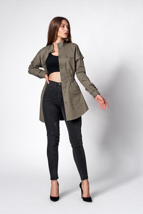 Женская коттоновая куртка-парка цвета хаки. Модель 470. Размеры 42-50
