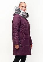 Зимняя стёганная  женская куртка батал цвета марсал с 54 по 70 размер, фото 2