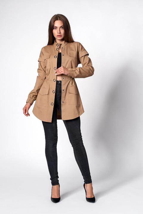 Женская коттоновая куртка-парка кофейного цвета. Модель 470. Размеры 42-50