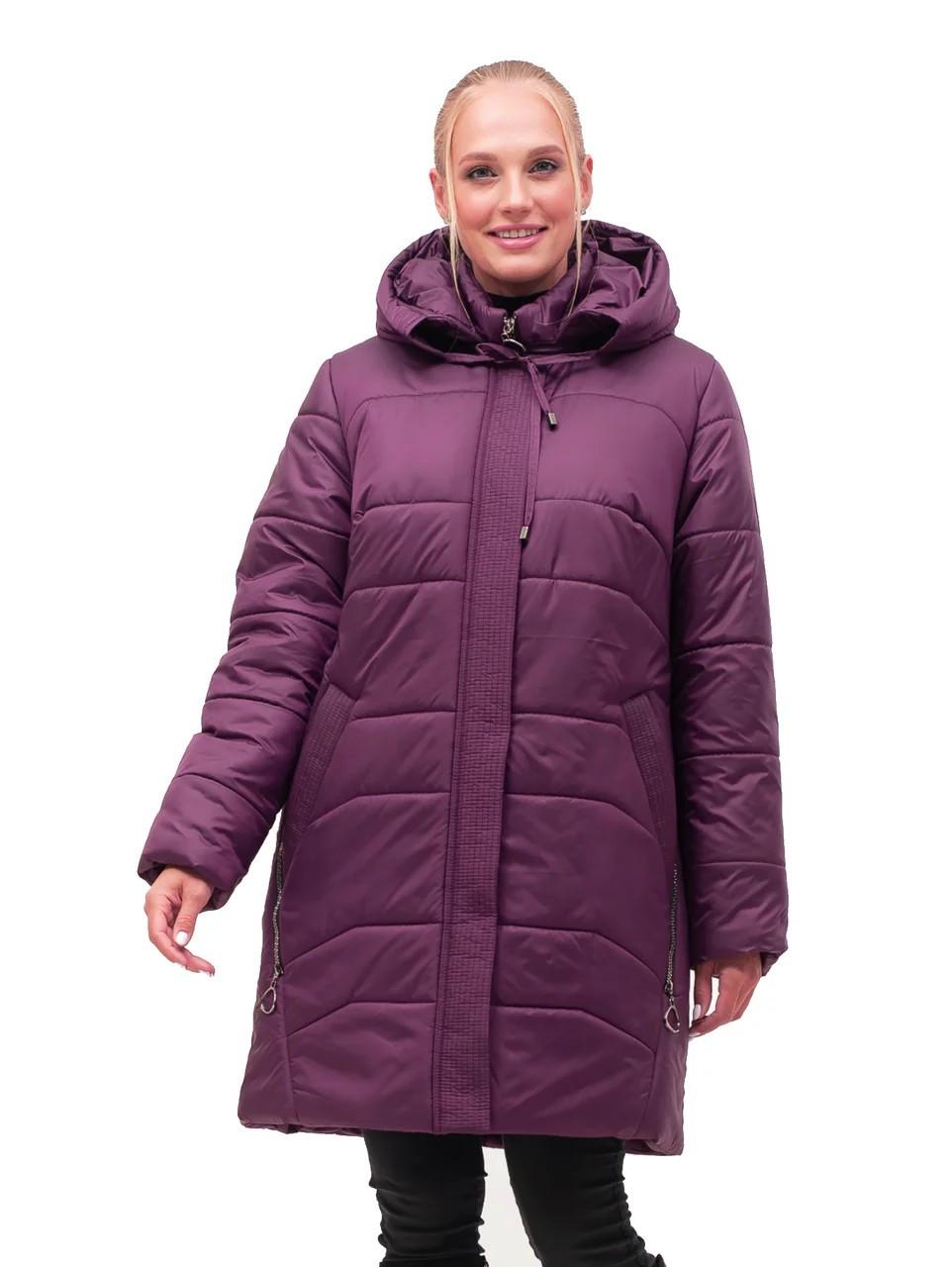 Зимняя стёганная  женская куртка батал цвета марсал с 54 по 70 размер