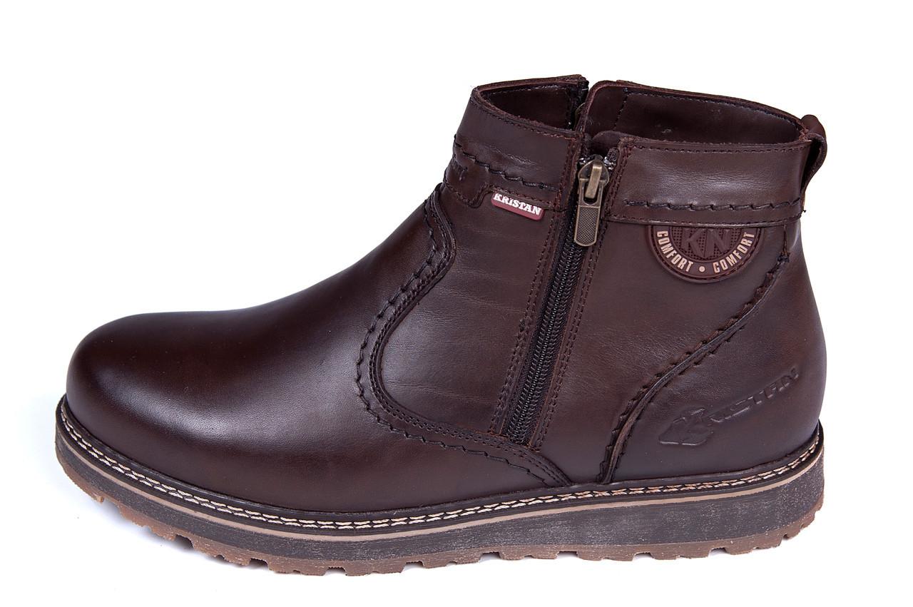 Мужские кожаные зимние ботинки Kristan clasic brown р. 42