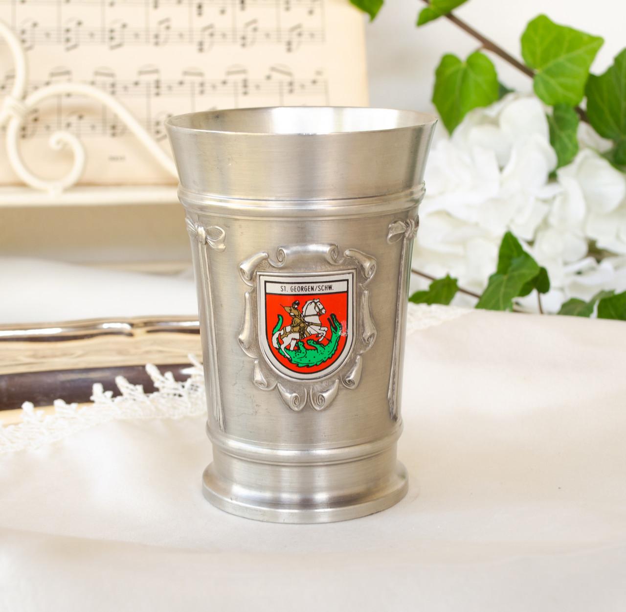Коллекционный оловянный бокал, пищевое олово, Германия, гербовая символика, 300 мл