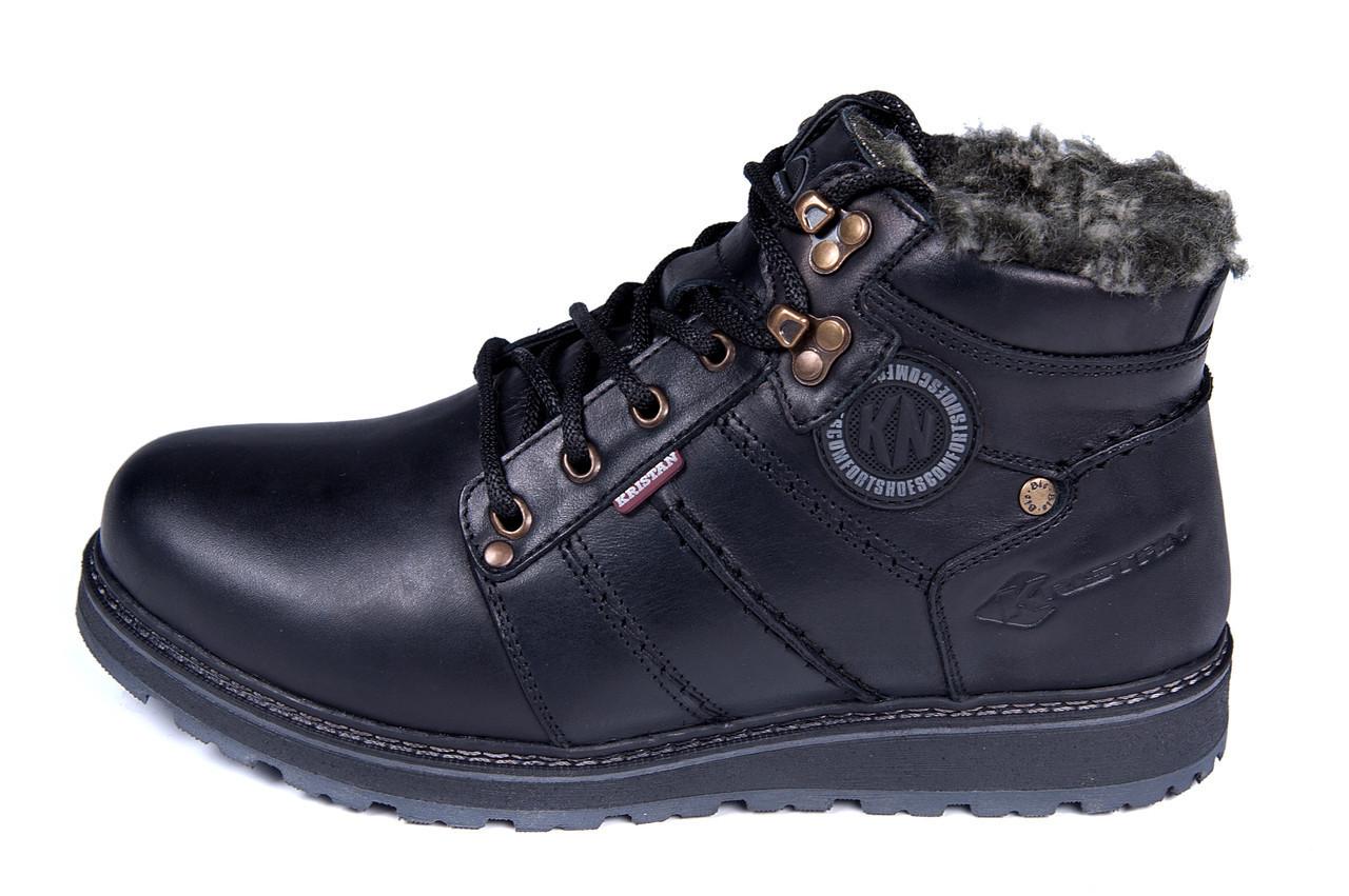Мужские кожаные зимние ботинки Kristan clasic black р. 43 44
