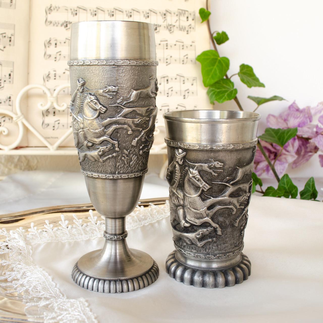 Два колекційних олов'яних келиха, харчове олово, Німеччина, королівське полювання
