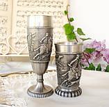 Два колекційних олов'яних келиха, харчове олово, Німеччина, королівське полювання, фото 4