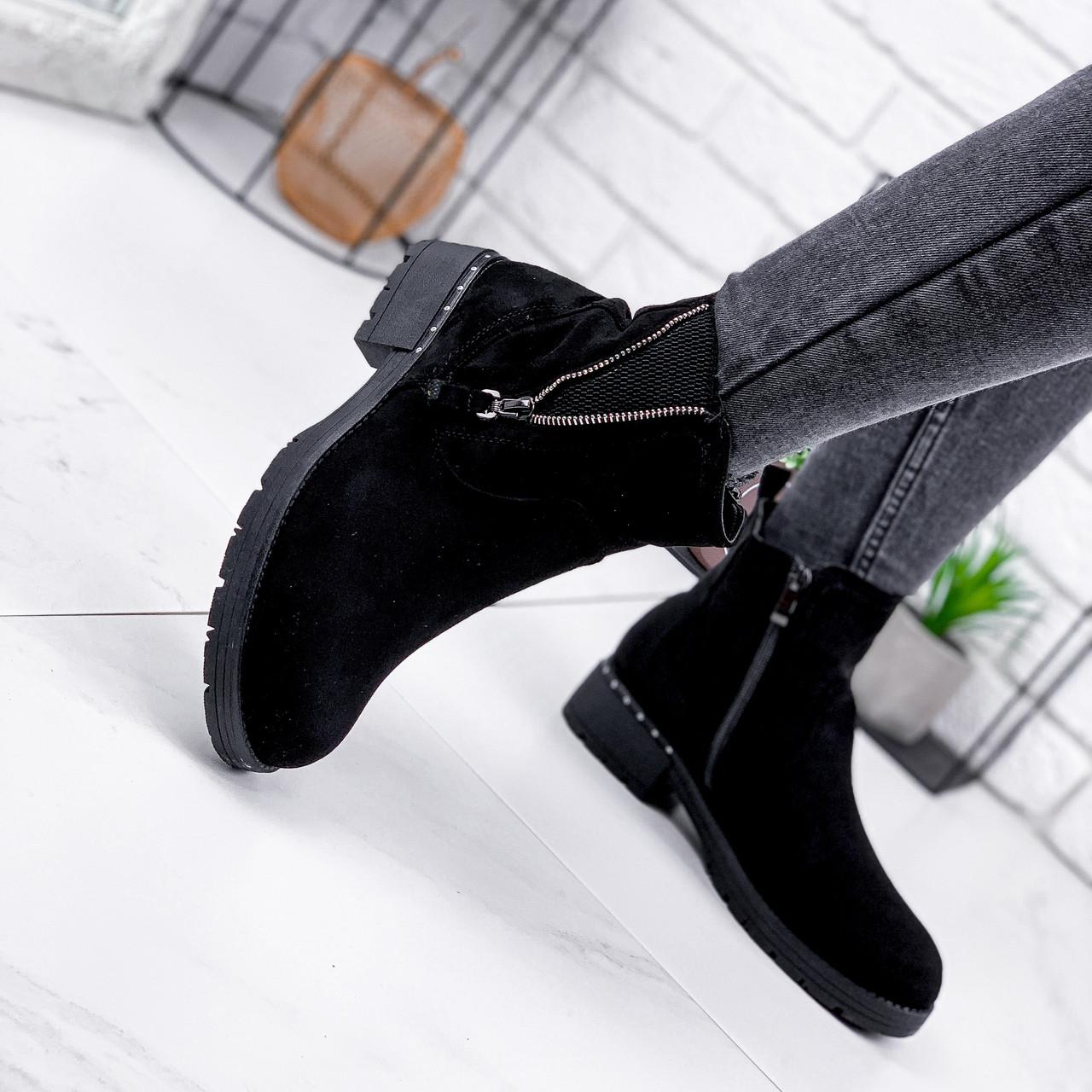 Ботинки женские Simon черные замша 2193