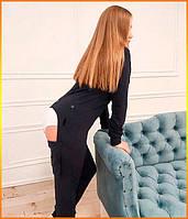 Пижама женская с карманом на попе попожама Темно-синяя комбинезон кигуруми