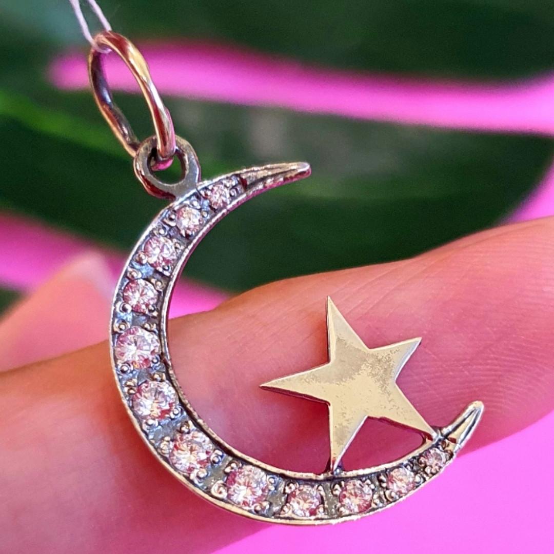 Серебряный кулон Полумесяц со звездой - Мусульманский серебряный кулон