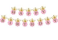 Гирлянда флажки Happy Birthday золото, фото 1