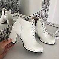 Черевики жіночі білі на каблуку екошкіра 36