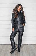 Тёплый женский зимний костюм на синтепоне и овчине куртка и штаны чёрный 42 44 46 48-50 52-54 56-58
