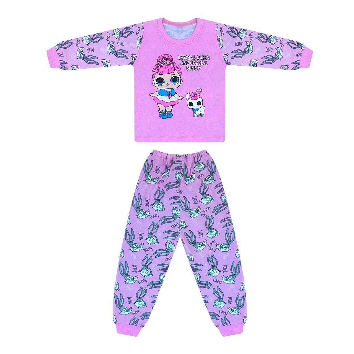 Дитяча кольорова піжама для дівчинки з принтом LOL начіс