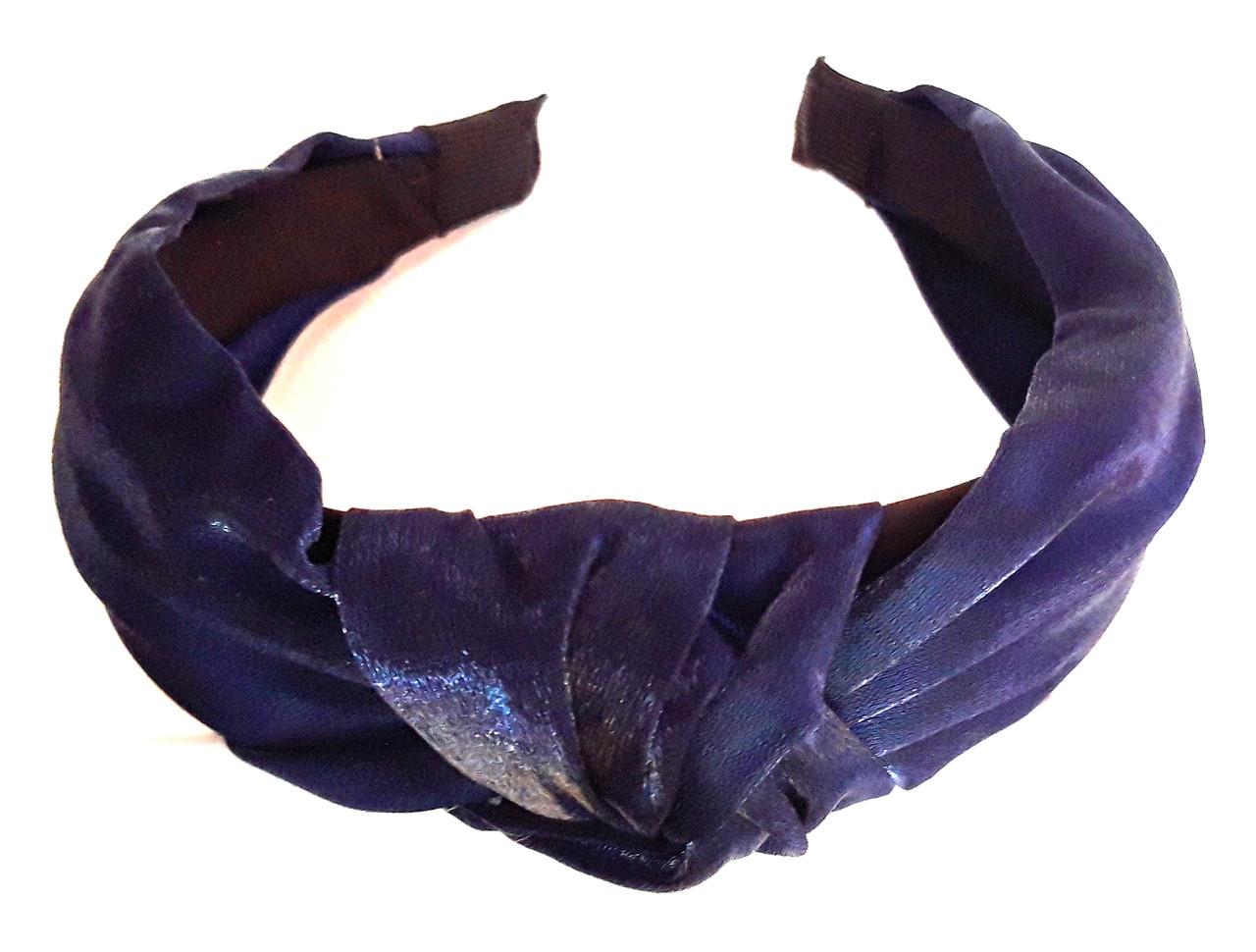 Обруч-чалма однотонный, темно-синий
