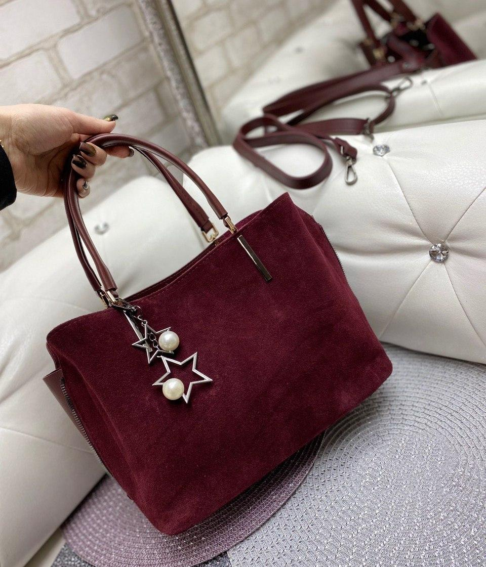 Сумка женская бордовая замшевая классическая небольшая деловая сумочка натуральная замша+экокожа