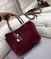 Сумка женская бордовая замшевая классическая небольшая деловая сумочка натуральная замша+экокожа, фото 1