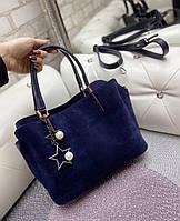 Сумка женская замшевая синяя классическая небольшая деловая сумочка натуральная замша+экокожа, фото 1