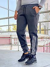 Теплые мужские спортивные штаны на манжете 904 темно-серые