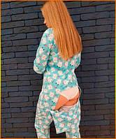 Пижама женская с карманом на попе попожама Мишки голубые комбинезон кигуруми