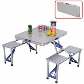 Складной стол алюминиевый туристический для пикника со стульями Folding Table white  (RZ101)
