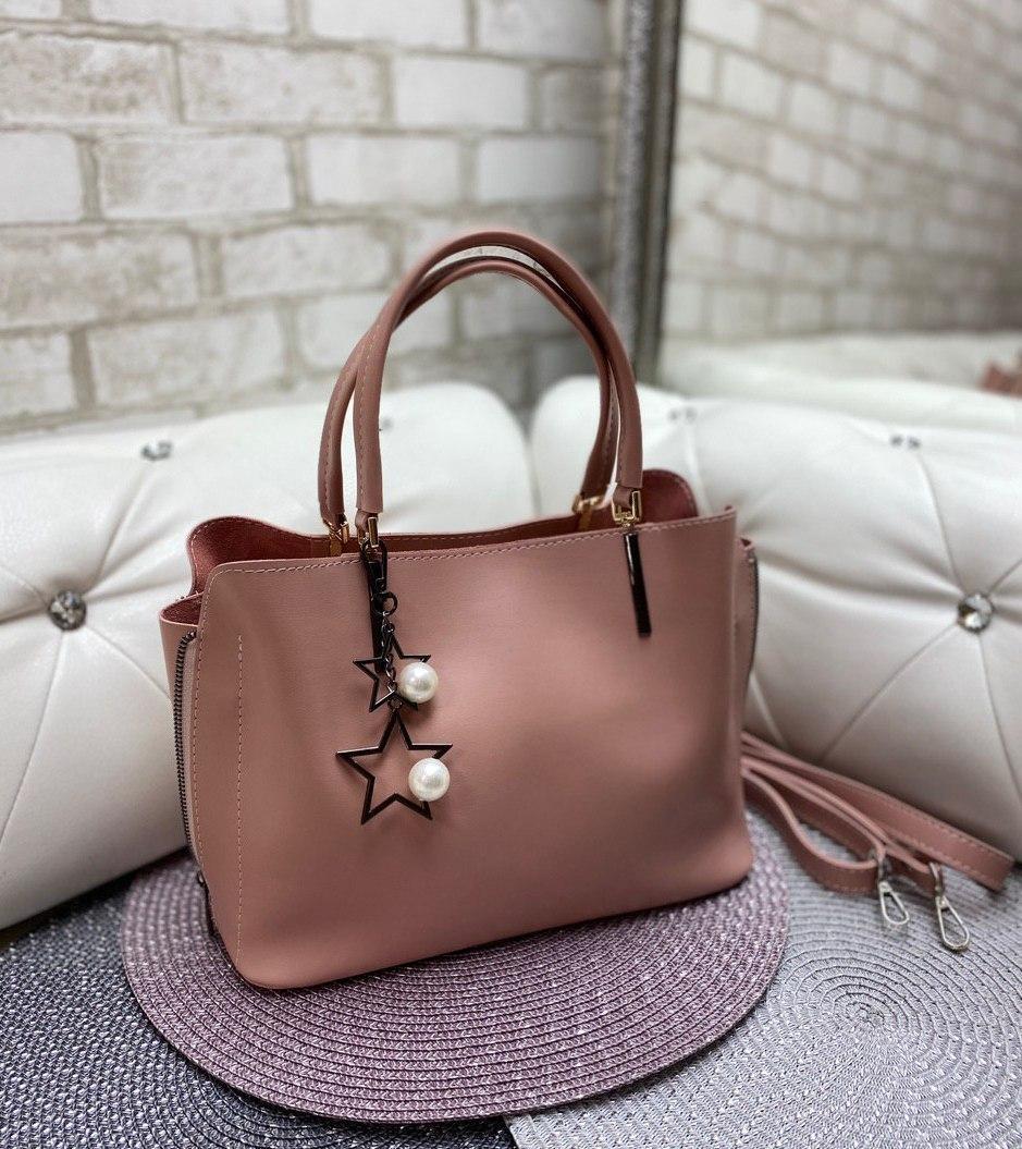 Пудровая женская сумка среднего размера сумочка небольшая классическая экокожа
