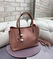 Пудровая женская сумка среднего размера сумочка небольшая классическая экокожа, фото 1