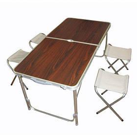Складной туристический стол для пикника Folding Table с 4 стульчиками  (RZ153)