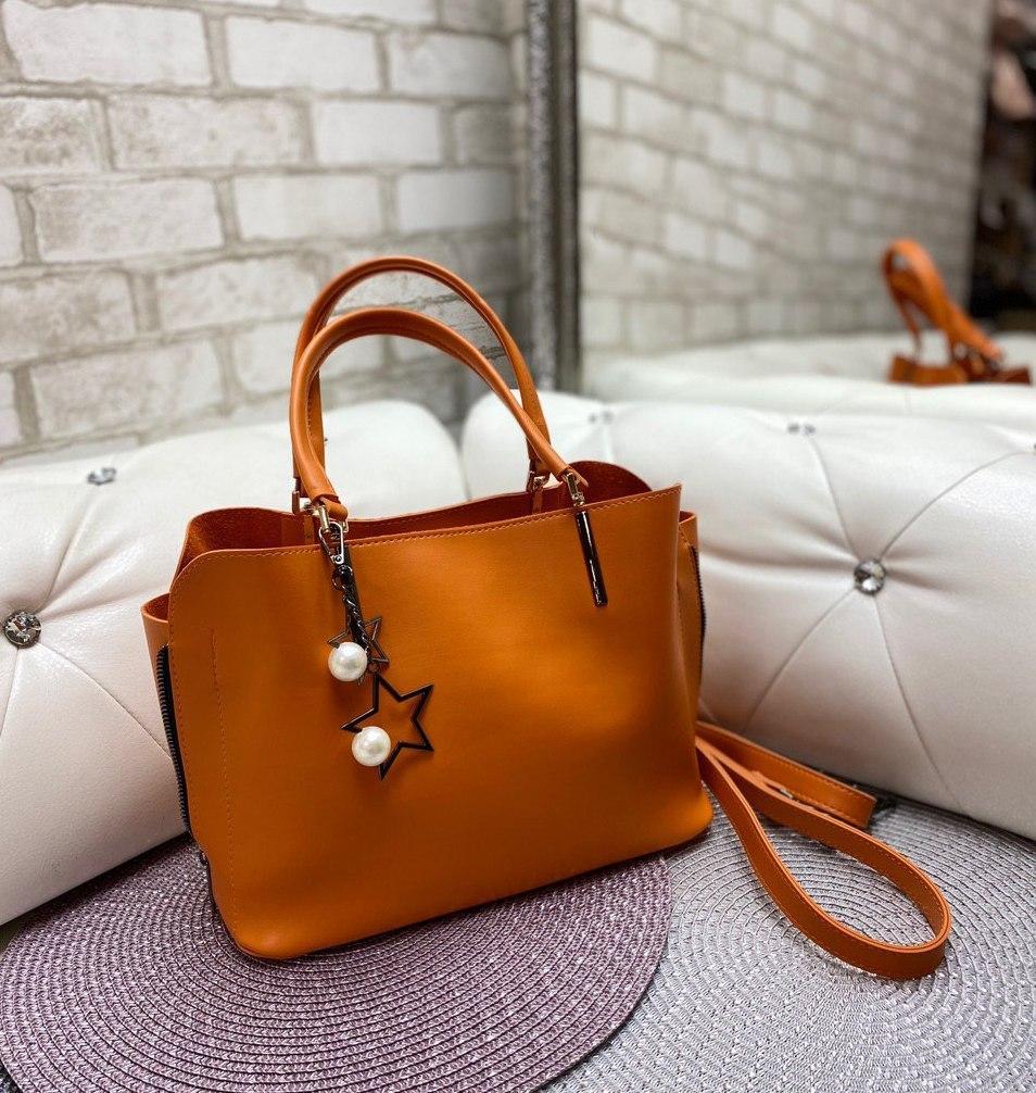 Сумка женская оранжевая среднего размера сумочка небольшая классическая экокожа