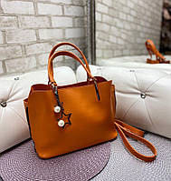 Сумка женская оранжевая среднего размера сумочка небольшая классическая экокожа, фото 1