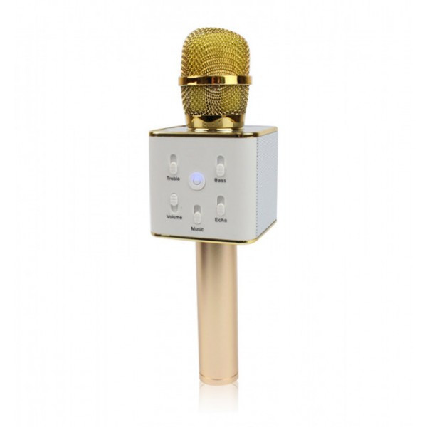Беспроводной микрофон караоке Tuxun bluetooth золотой Q7 MS  (RZ513)