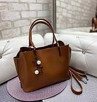 Сумка женская среднего размера сумочка небольшая классическая терракотовая экокожа, фото 1