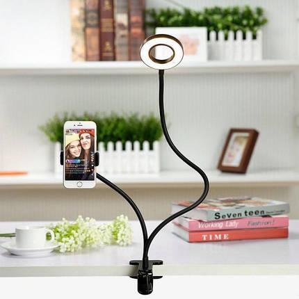 Держатель на прищепке с Led подсветкой Professional Live Stream усиленный для блогера селфи съемок Черный , фото 2