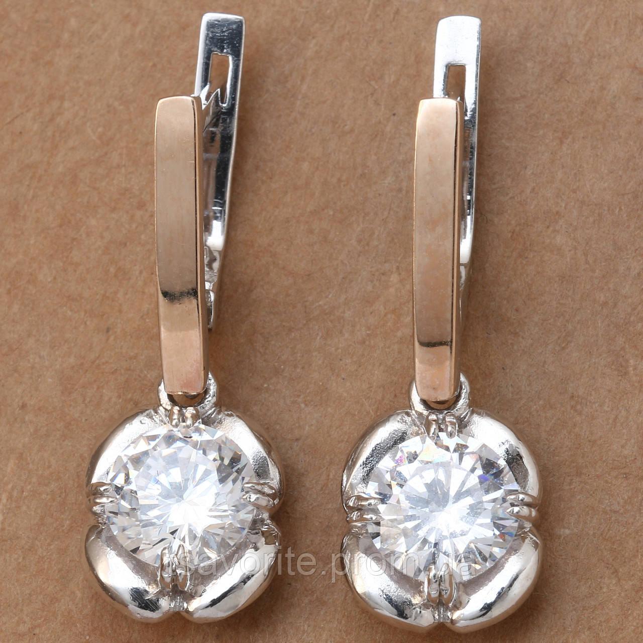 Серебряные серьги с золотом 450КН