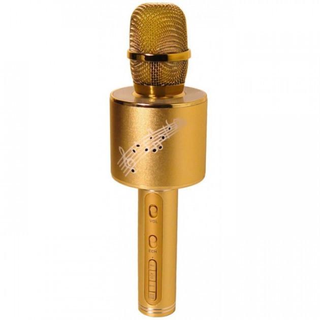 Беспроводной караоке микрофон детский Bluetooth c колонкой YS 66 Gold  (RZ032)