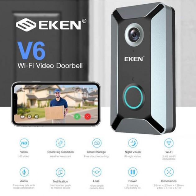 Беспроводной видео звонок Eken V6 Wi-Fi глазок с датчиком движения и ночным видением  (RZ226)