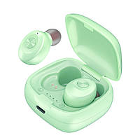 Беспроводные вакуумные наушники в кейсе гарнитура с микрофоном XG12 Bluetooth Зеленые