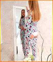 Пижама женская с карманом на попе попожама Макаронс комбинезон кигуруми