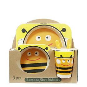 Набор детской посуды из бамбука Пчелка 5 предметов  (RZ806)