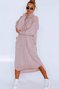 Женское вязаное платье свободного силуэта , в расцветках.