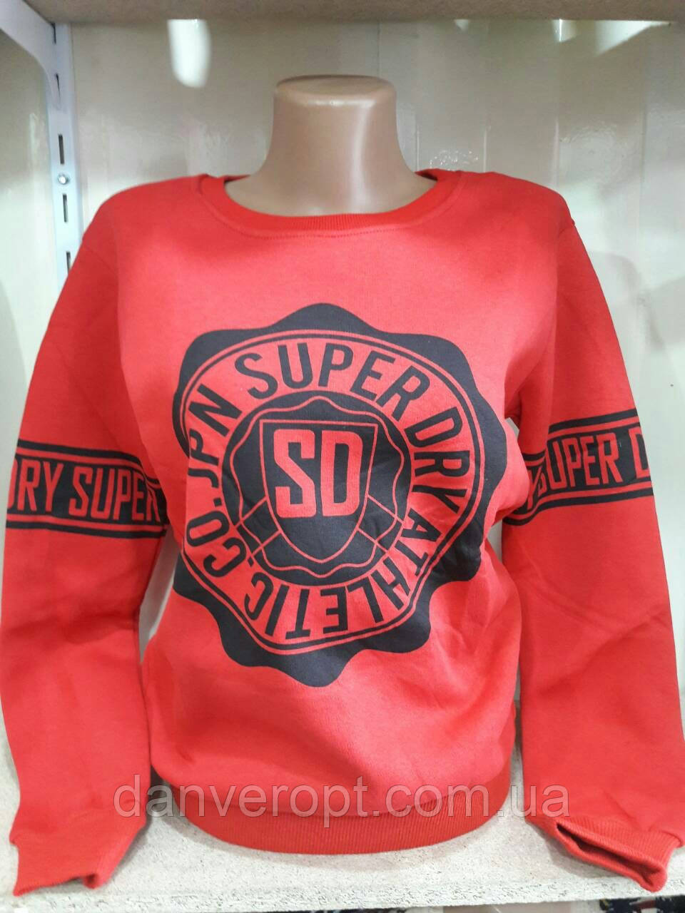 Свитшот женский молодёжный на флисе SUPER размер 42-48 купить оптом со склада 7км Одесса