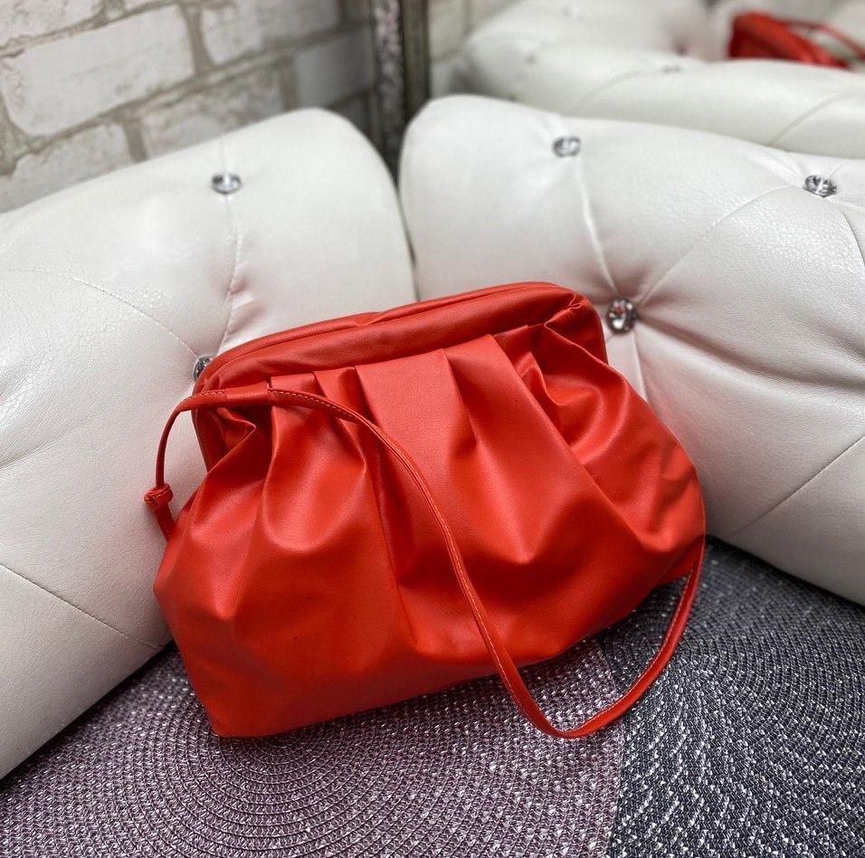 Cумочка клатч оранжевая женская сумка через плечо небольшая яркая  стильная ридикюль экокожа