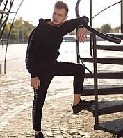 Спортивный костюм мужской молодежный черный Nike лампас осень весна. Живое фото. Чоловічий спортивний костюм
