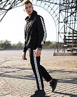 Спортивный костюм мужской молодежный черный Adidas лампас осень весна. Живое фото. Чоловічий спортивний костюм