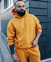 Теплый спортивный костюм мужской с капюшоном на флисе оверсайз желтый Турция. Живое фото. Чоловічий костюм
